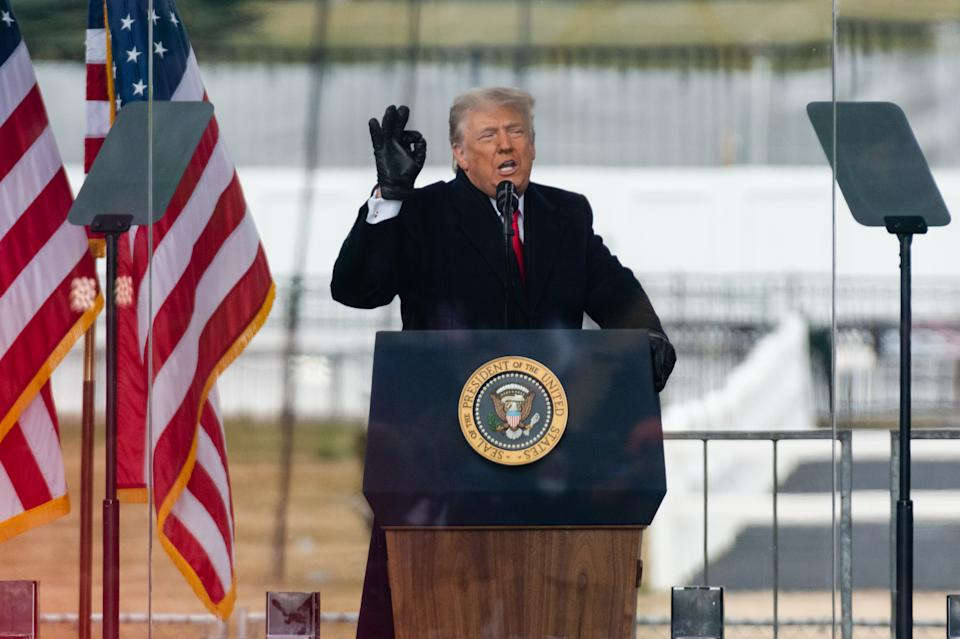 U.S. President Donald Trump speaks during a
