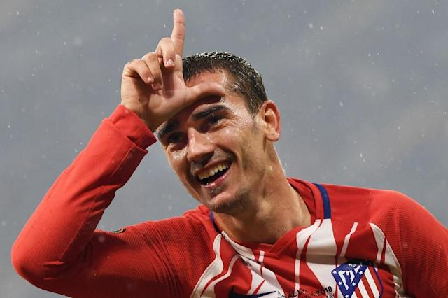 Antoine Griezmann scored both goals as Atletico Madrid sunk Marseille in the Europa League final (AFP Photo/Philippe DESMAZES)