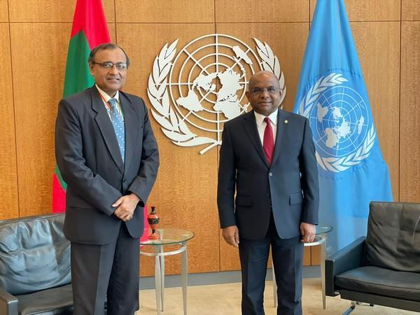 Permanent Representative of India to United Nations TS Tirumurti (L) and President of the 76th United Nations General Assembly Abdulla Shahid (R) (Photo Courtesy: Twitter/abdulla_shahid)