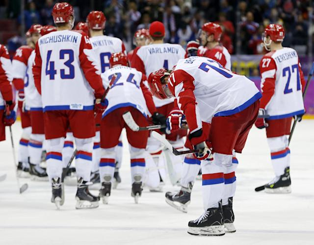 Russia's hockey stars, and their followers, go quietly in loss to Finland