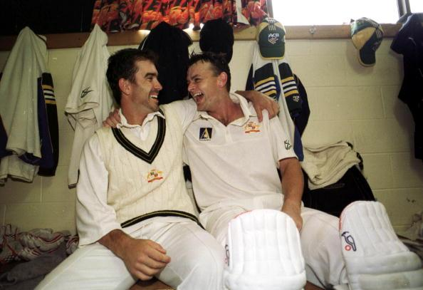 22 Nov 1999:  Australian batsman Justin Langer and Adam Gilchrist are jubilant  after securing victory for Australia on day five of the Second test between Australia and Pakistan at Bellerive Oval, Hobart, Australia.  Gilchrist  and Langer earlier shareda partnership of  238 runs as Australia snatched victory by four wickets. Gilchrist finished not out on 149 runs. Langer was named man of the match. Mandatory Credit: Jack Atley/ALLSPORT