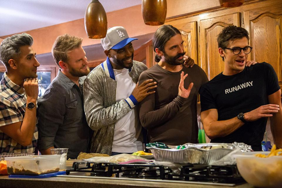 """<p>We're thrilled we keep getting new installments of the updated <em>Queer Eye</em> series, which stars Antoni Porowski (food), Bobby Berk (design), Karamo Brown (culture), Tan France (fashion), and Jonathan Van Ness (grooming). Because, so far, the Fab Five group has brought much needed friendship and cheer to communities across the United States. </p> <p><a href=""""https://www.netflix.com/title/80160037"""" rel=""""nofollow noopener"""" target=""""_blank"""" data-ylk=""""slk:Available to stream on Netflix"""" class=""""link rapid-noclick-resp""""><em>Available to stream on Netflix</em></a></p>"""