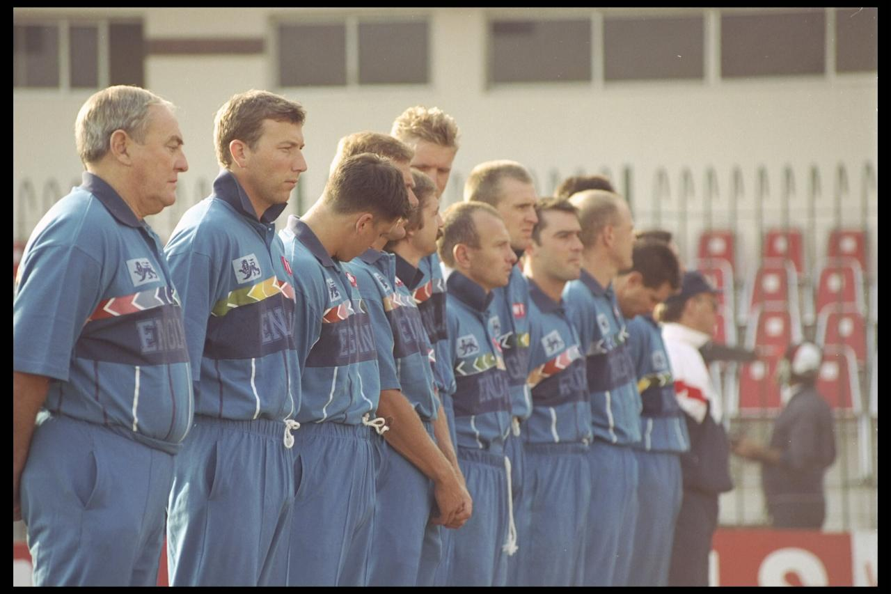 22 Feb 1996: The England team line up before the start of the game against Holland during the cricket world cup match in Peshawar, Pakistan.