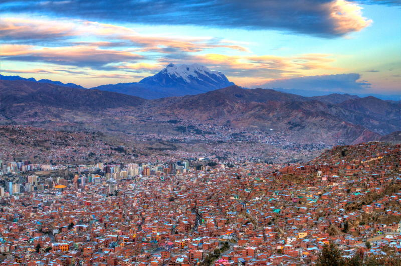 Sunset from El Alto,Mount Illimani in background.