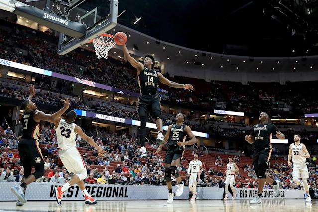 <p>Terance Mann #14 of the Florida State Seminoles blocks a shot attempt by Zach Norvell Jr. #23 of the Gonzaga Bulldogs during the 2019 NCAA Men's Basketball Tournament West Regional at Honda Center on March 28, 2019 in Anaheim, California. (Photo by Sean M. Haffey/Getty Images) </p>