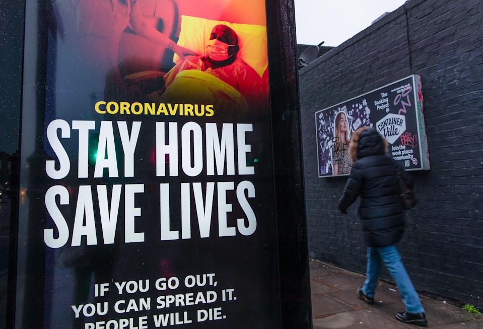 A coronavirus advertisement from the UK government calling people to �Stay Home, Save Lives� seen in London. (Photo by May James / SOPA Images/Sipa USA)