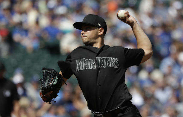 Seattle Mariners starting pitcher Marco Gonzales throws against the Toronto Blue Jays in the third inning of a baseball game Sunday, Aug. 25, 2019, in Seattle. (AP Photo/Elaine Thompson)
