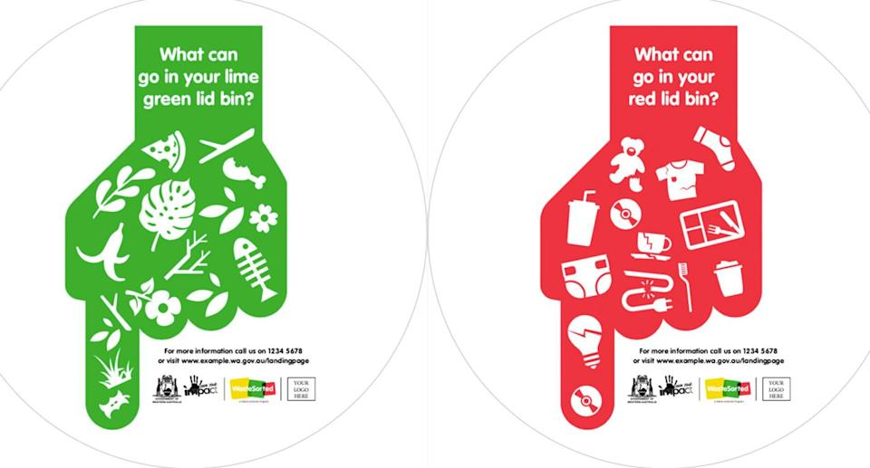 The stickers could be slapped on bins of bad recyclers who fail to properly sort waste into green bins and recycle bins.