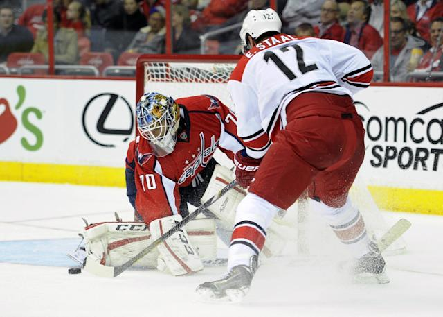 Carolina Hurricanes center Eric Staal (12) tries to get the puck past Washington Capitals goalie Braden Holtby (70) during the second period an NHL hockey game, Thursday, Oct. 10, 2013, in Washington. (AP Photo/Nick Wass)