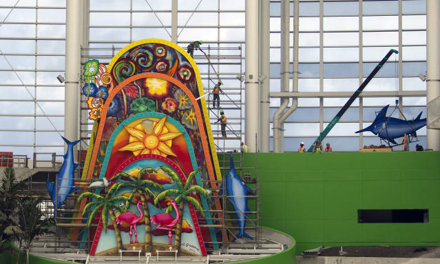 The Marlins home run sculpture is here to say, no matter what Derek Jeter wants. (AP Photo)
