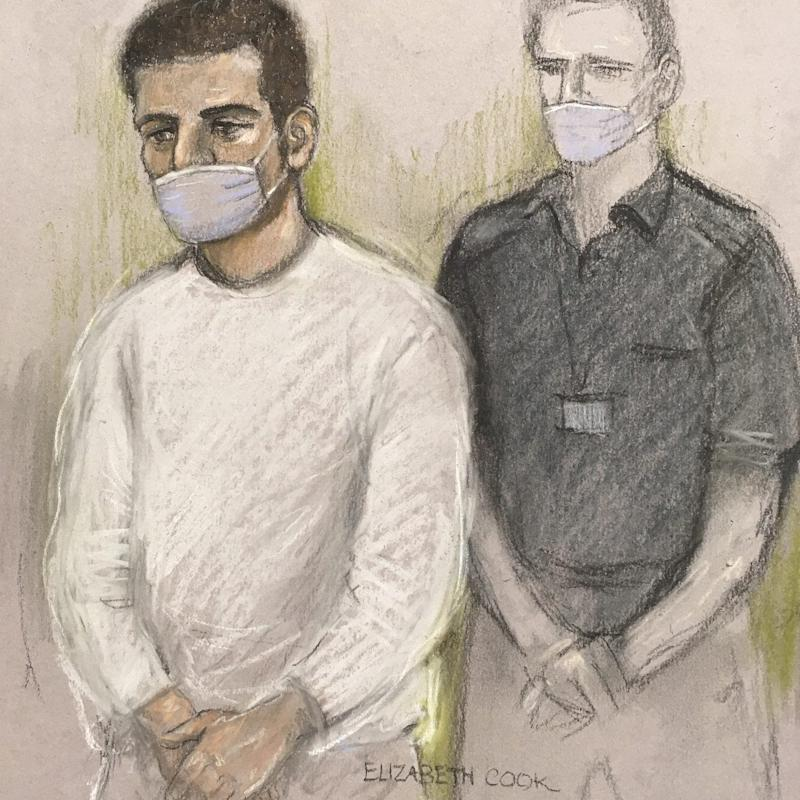 Court artist sketch of Khairi Saadallah in a face mask appearing via video-link at Westminster Magistrates' Court, London - PA/Elizabeth Cook
