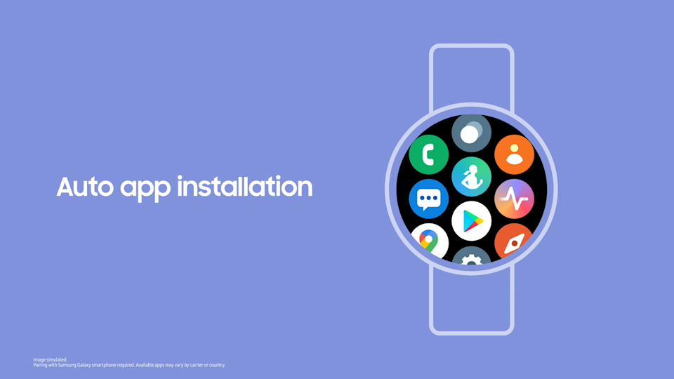 """<p>A screenshot showing the new Samsung One UI Watch experience based on Wear OS. A watch with app icons filling the screen with the words """"Auto app installation"""" on the left.</p>"""