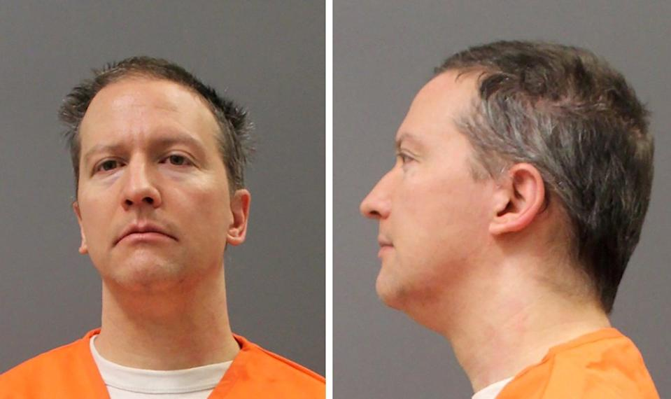 <p>FILE PHOTO: Former Minneapolis Police Officer Derek Chauvin is shown in a combination of police booking photos after a jury found him guilty on all counts in his trial for second-degree murder, third-degree murder and second-degree manslaughter in the death of George Floyd in Minneapolis, Minnesota, U.S. April 20, 2021. </p> (Minnesota Department of Corrections)