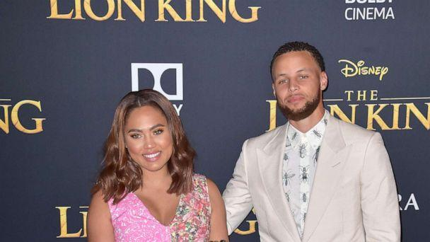 PHOTO: Steph Curry with wife Ayesha Curry and daughters Ryan and Riley at the world premiere of the movie 'The Lion King' at the Dolby Theater in Los Angeles, July 9, 2019. (Dave Starbuck/Geisler-Fotopress/dpa via AP)