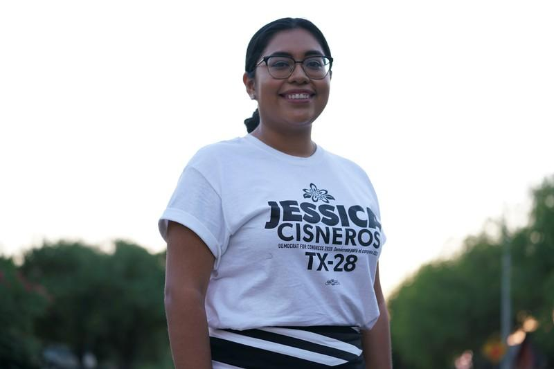 Democrat Jessica Cisneros campaigns for a House seat in Laredo, Texas