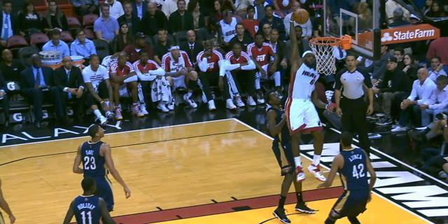 LeBron does a bit of everything — deep 3s, huge alley-oops, smooching fans — as Heat beat Pelicans (Videos)