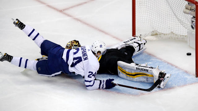 Toronto Maple Leafs right wing Kasperi Kapanen (24) beats Boston Bruins goaltender Tuukka Rask for an unassisted goal during the second period of Game 7 of an NHL hockey first-round playoff series in Boston, Wednesday, April 25, 2018. (AP Photo/Charles Krupa)