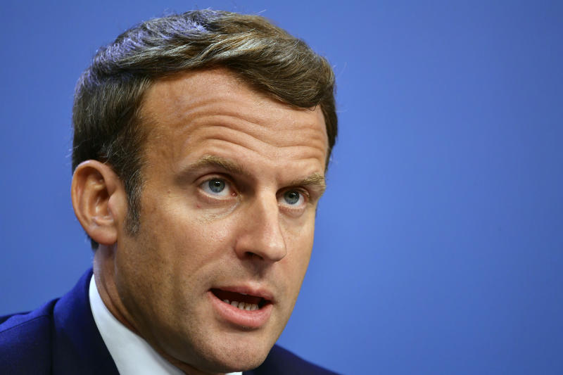 French President Emmanuel Macron speaks during a media conference at the end of an EU summit in Brussels. Source: AAP