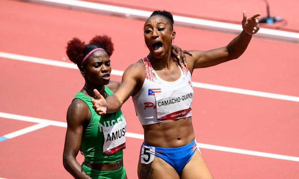 Jasmine Camacho-Quinn reacts after winning the gold medal in the women's 100m hurdles final.