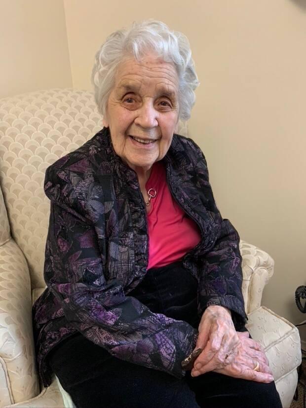 Guusje Parks in her long-term care home, the Isabelle and Arthur Meighen Manor, in February 2020, two months before she died of COVID-19.