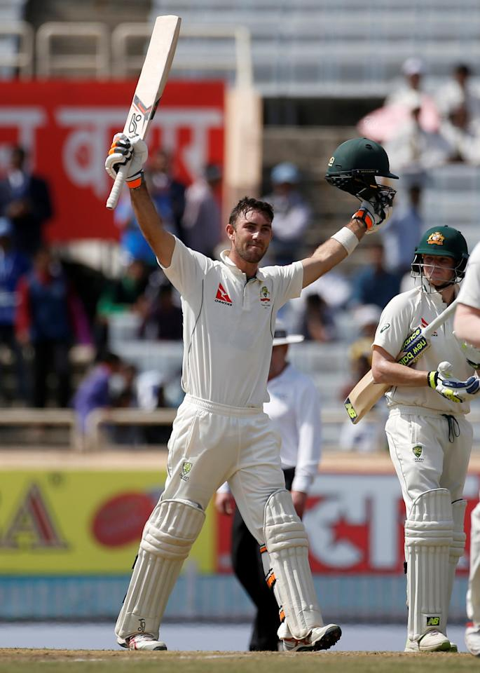 Cricket - India v Australia - Third Test cricket match - Jharkhand State Cricket Association Stadium, Ranchi, India - 17/03/17 - Australia's Glenn Maxwell celebrates his century. REUTERS/Adnan Abidi     TPX IMAGES OF THE DAY