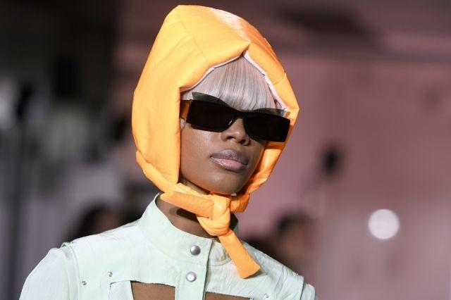 A padded headscarf at Courrèges. Paris, September 26, 2018