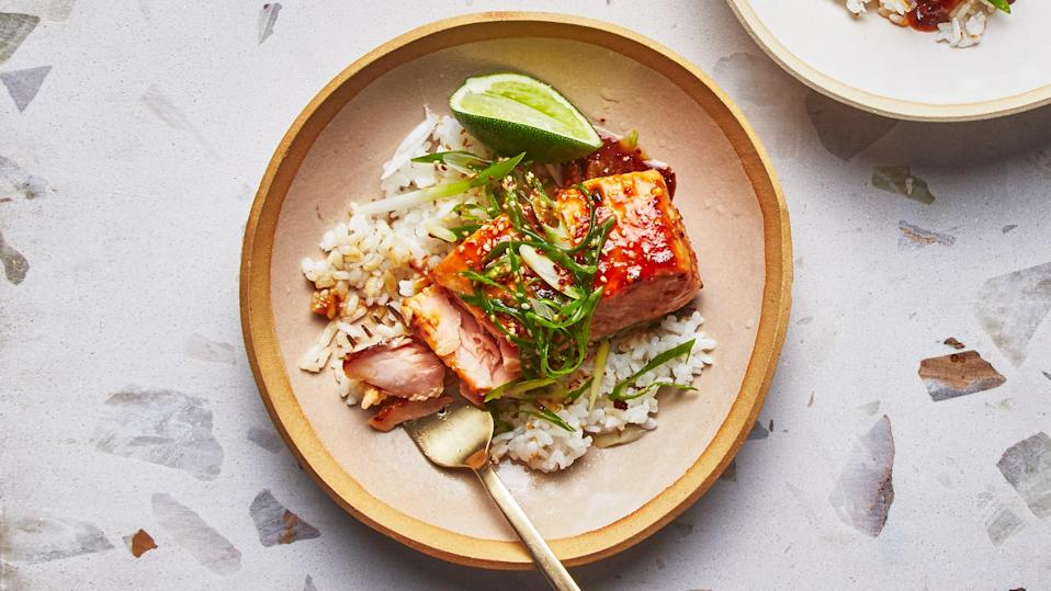 "The tastiest rice is seasoned sushi rice. It has vinegar, salt, and sugar added to develop a wide range of flavors, making it a dynamic counterpart to simple fish for a hassle-free weeknight dinner. <a href=""https://www.bonappetit.com/recipe/sushi-rice-with-miso-caramel-glazed-salmon?mbid=synd_yahoo_rss"" rel=""nofollow noopener"" target=""_blank"" data-ylk=""slk:See recipe."" class=""link rapid-noclick-resp"">See recipe.</a>"