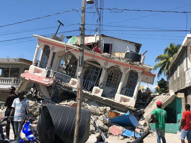 A damaged building in Haiti after the earthquake in August (Photo: Xinhua News Agency via Getty Images)