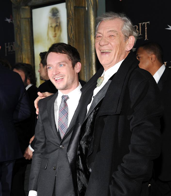 """Actors Elijah Wood, left, and Ian McKellen attend the premiere of """"The Hobbit: An Unexpected Journey"""" at the Ziegfeld Theatre on Thursday Dec. 6, 2012 in New York. (Photo by Evan Agostini/Invision/AP)"""