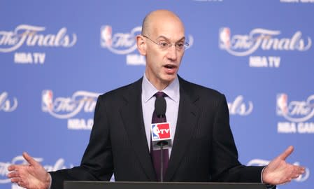 NBA Commissioner Adam Silver speaks at a press conference before Game 2 of the NBA Finals basketball series in San Antonio