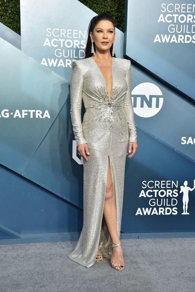 Zeta-Jones opted for her signature style at the 26th Annual Screen Actors Guild Awards in 2020. (Gregg DeGuire/Getty Images for Turner)