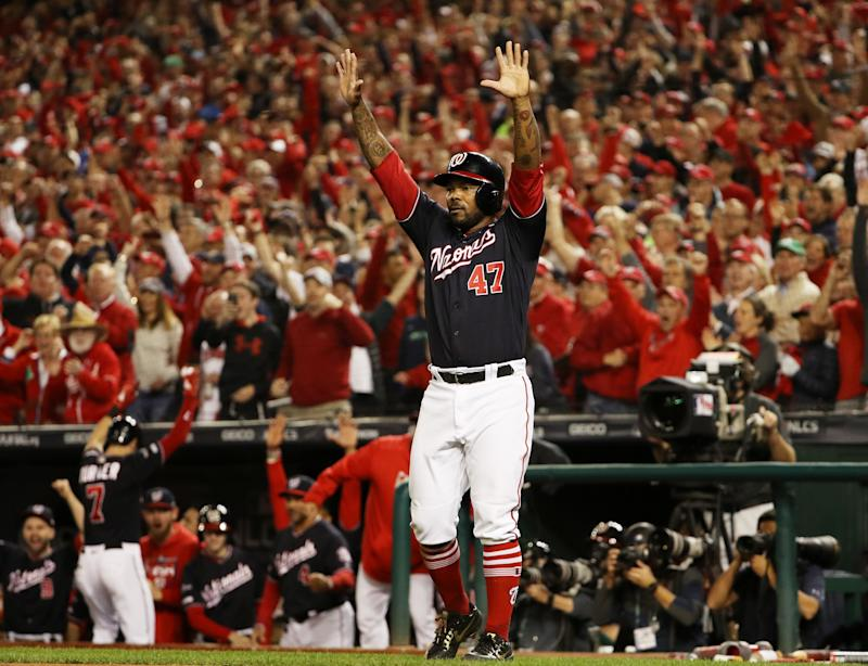 The Washington Nationals defeated the St. Louis Cardinals 7-4 in NLCS Game 4 to clinch their first-ever trip to the World Series. (Photo by Patrick Smith/Getty Images)
