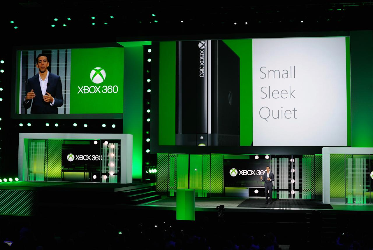 LOS ANGELES, CA - JUNE 10:  Yusuf Mehdi, senior vice president of the Online Audience Business Group at Microsoft Corp., speak during Microsoft Xbox news conference at the Electronic Entertainment Expo at the Galen Center on June 10, 2013 in Los Angeles, California. Thousands are expected to attend the annual three-day convention to see the latest games and announcements from the gaming industry.  (Photo by Kevork Djansezian/Getty Images)
