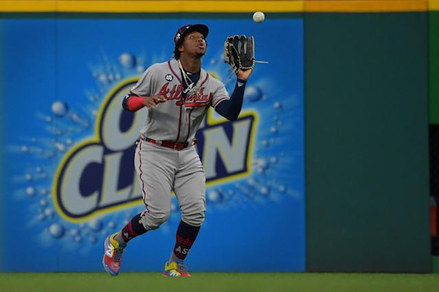Ronald Acuna Jr. #13 of the Atlanta Braves participates in the 2019 MLB All-Star Game at Progressive Field on July 09, 2019 in Cleveland, Ohio. (Photo by Jason Miller/Getty Images)