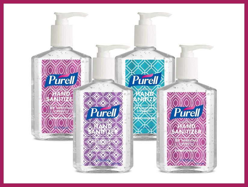 Purell Advanced Hand Sanitizer Refreshing Gel Design Series, Clean Scent, eight-ounce Pump Bottle (four-pack). (Photo: Amazon)