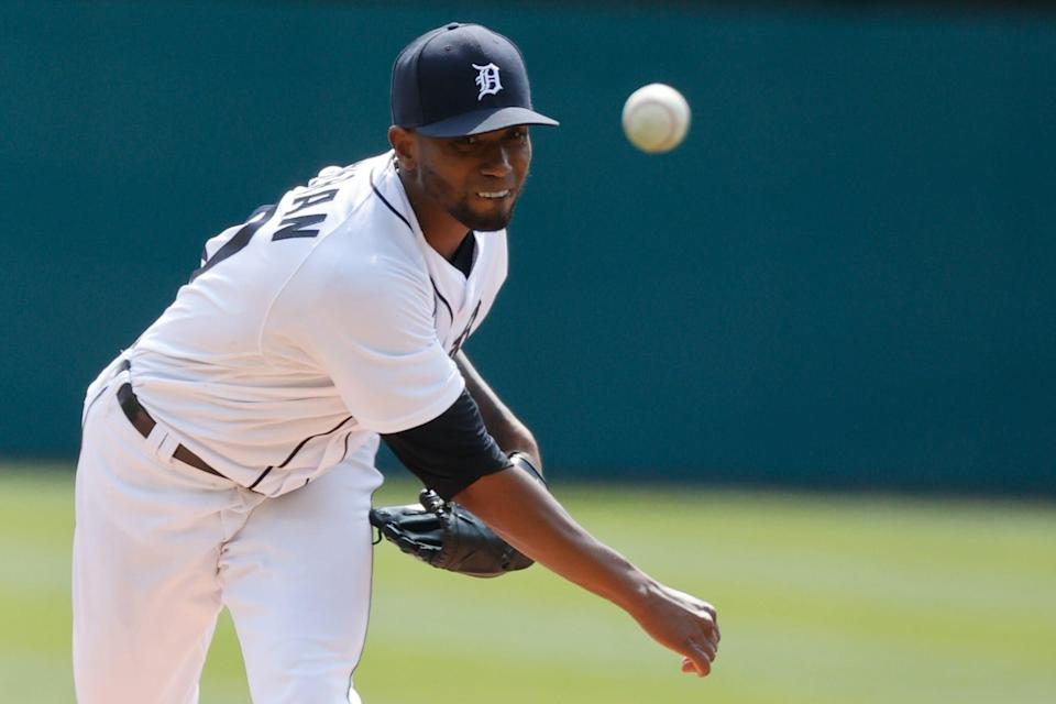 Detroit Tigers starting pitcher Julio Teheran pitches in the first inning against the Cleveland Indians at Comerica Park, Saturday, April 3, 2021.