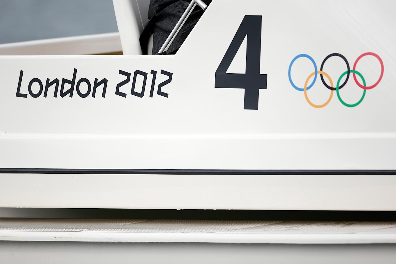 A general view of the London 2012 sign and Olympic rings on the side of a boat on Day 6 of the London 2012 Olympic Games at Eton Dorney on August 2, 2012 in Windsor, England.  (Photo by Jamie Squire/Getty Images)