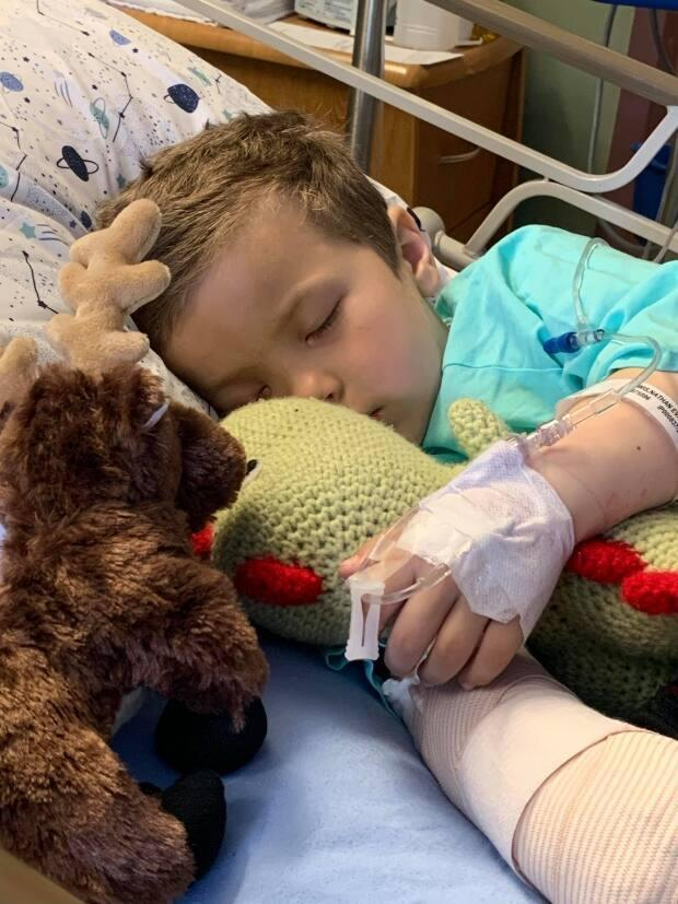 Nathan's beloved moose stuffie, given to him by hospital staff, keeps a close watch over him while he sleeps.