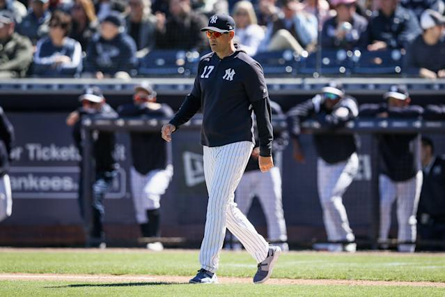 "When <a class=""link rapid-noclick-resp"" href=""/mlb/teams/ny-yankees/"" data-ylk=""slk:Yankees"">Yankees</a> manager Aaron Boone told reliever Phillip Diehl that he had been traded Saturday, Diehl thought it was a prank. (Photo by Dylan Buell/Getty Images)"