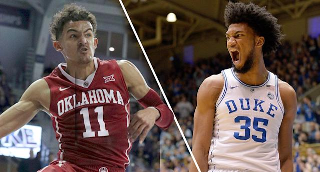 Oklahoma's Trae Young and Duke's Marvin Bagley both put on a show Saturday afternoon. (AP/Getty)