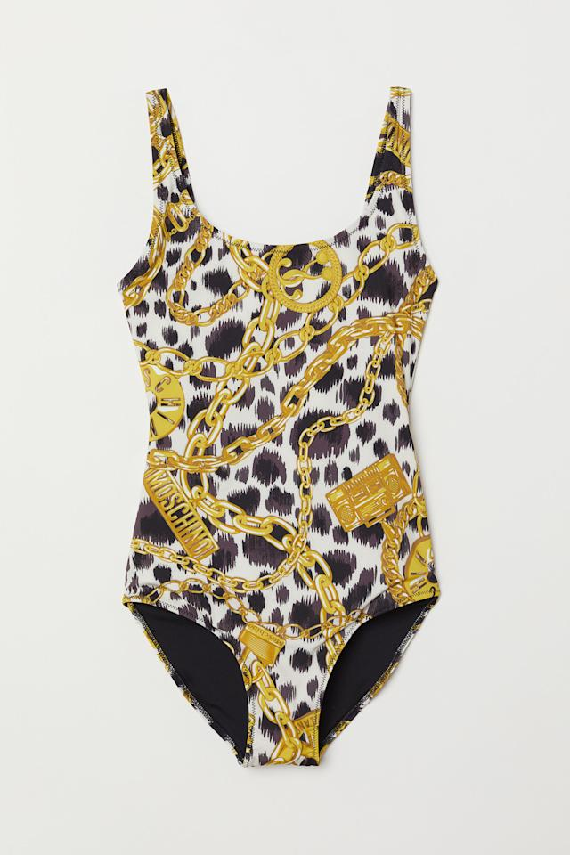 "<p>If you're always the life of the party, this is the swimsuit for you. <br /><a rel=""nofollow"" href=""https://fave.co/2PflV8V"">Shop it:</a> H&M x Moschino patterned swimsuit, $60, <a rel=""nofollow"" href=""https://fave.co/2PflV8V"">hm.com</a> </p>"