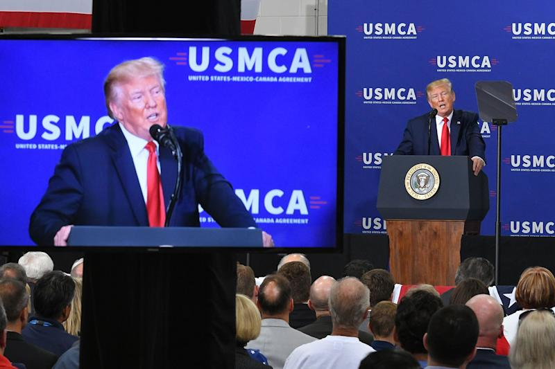 US President Donald Trump speaks on the United StatesMexicoCanada Agreement (USMCA) trade agreement at Derco Aerospace Inc. plant in Milwaukee, Wisconsin on July 12, 2019. (Photo by MANDEL NGAN / AFP) (Photo credit should read MANDEL NGAN/AFP via Getty Images)