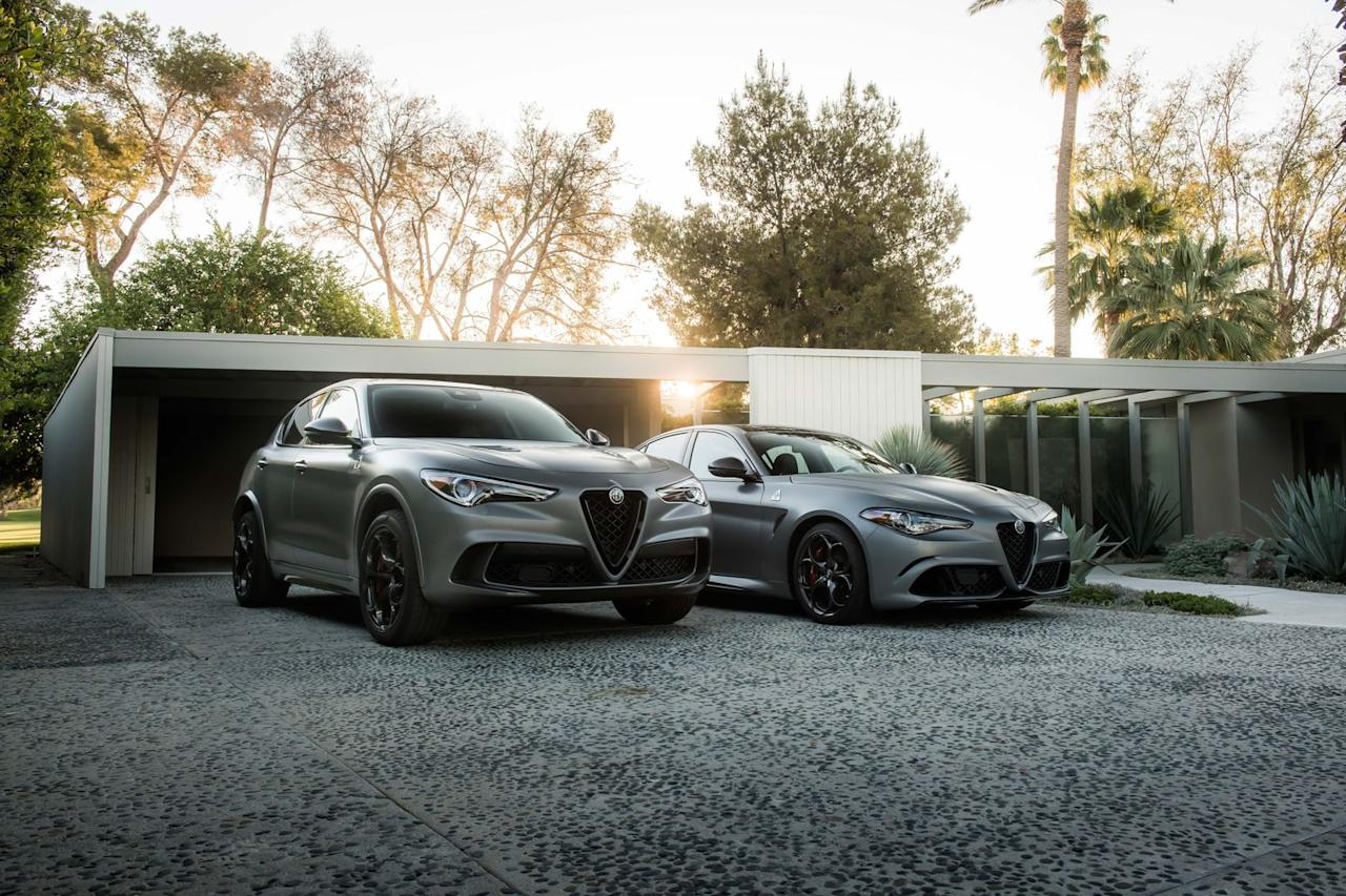 <p>Both cars get matte Circuito Gray paint that is offset by a carbon-fiber grille and side mirrors. </p>