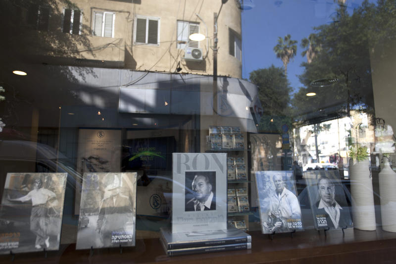 In this Wednesday, Nov. 7, 2012 photo, shows books by American science fiction writer and founder of Scientology L. Ron Hubbard, on display at the Scientology center in port city of Jaffa Tel Aviv, Israel. Near the ancient market of Israel's biblical port city of Jaffa, a striking new white building has been erected amid the mustard tableau of surrounding stores and homes. The elegant 60,000 square-foot center sticks out for another reason: It is the new headquarters of Scientology in the Holy Land. (AP Photo/Ariel Schalit)