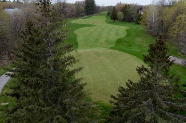An empty fairway is seen at a golf course in Ottawa. One club owner said business is already booming now that courses in the province have reopened.