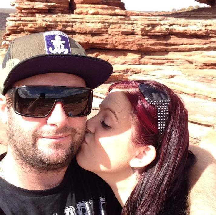 Adam and Gillian Wright, from WA, shown kissing in a picture from Facebook.
