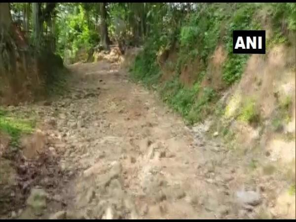 Visual of the road at Telichhara village in Assam (Photo/ANI)