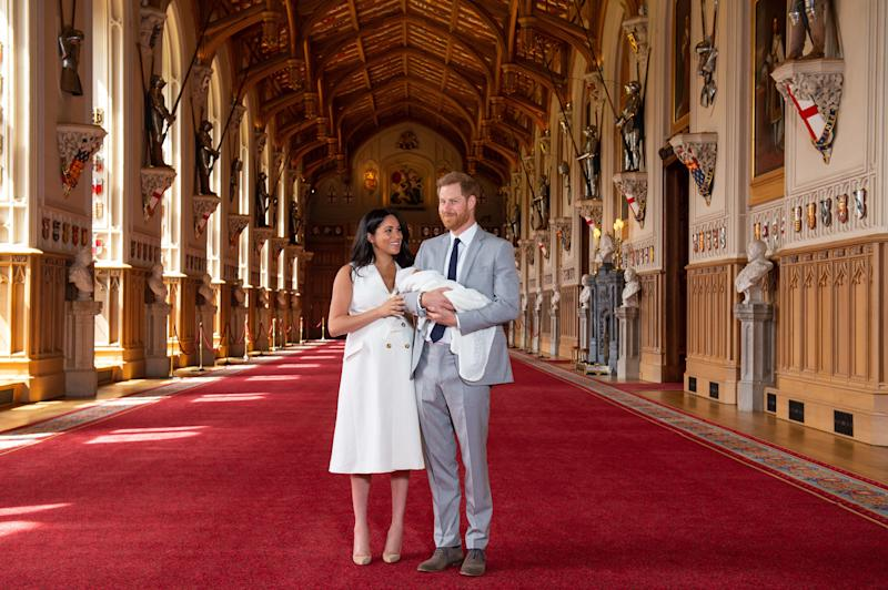 The Duke and Duchess of Sussex with their baby son, who was born on Monday morning, during a photocall in St George's Hall at Windsor Castle in Berkshire [Photo: PA]