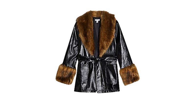 Topshop coat with faux fur trim in black