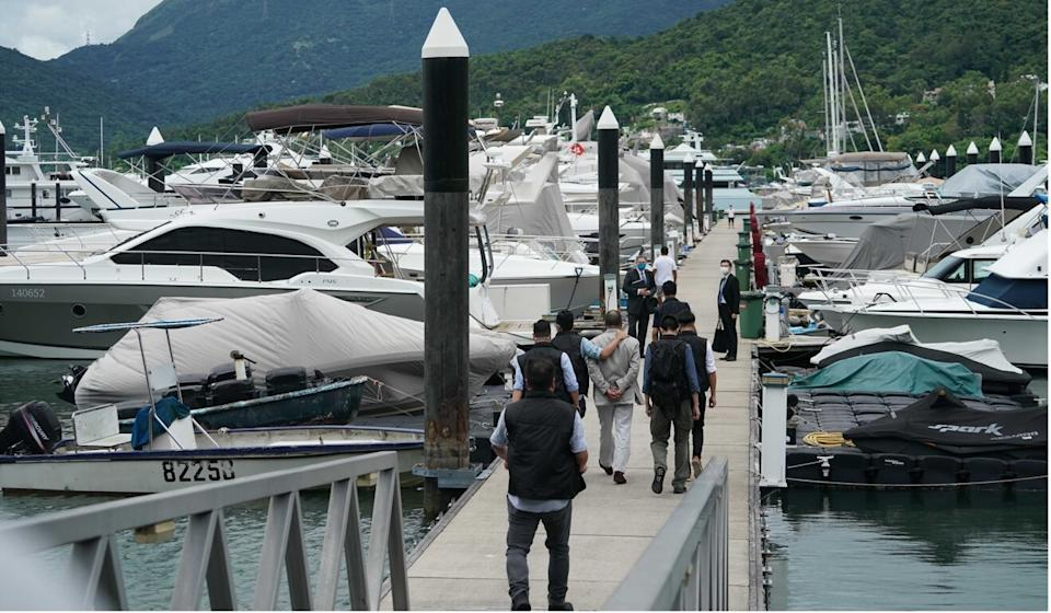 Jimmy Lai was taken to his yacht on Tuesday. Photo: Felix Wong